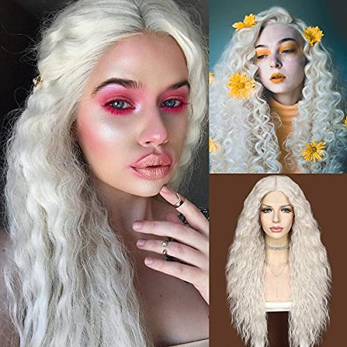 QD-Udreamy Long Curly Wigs for Black Women curly synthetic lace front wigs Heat Resistant 60# Blonde Natural Kinky Curly Type Synthetic Lace Front Wigs for Women Daily Wear Makeup