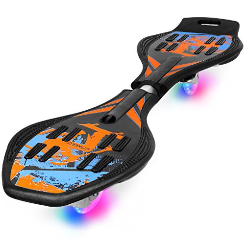 ENKEEO Caster Board with Hand Grip, Illuminating PU Casters and Carrying Pouch, Weight Capacity Up to 220lbs.Blue