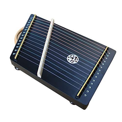 GYKFY Guzheng Profesional Finger Trainer 21 Cuerdas / 14 Secuencia de la Mano Dedos Profesional portátil Mini Trainer Cítara Arpa para el Principiante,14 Strings