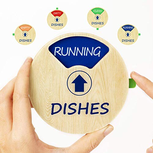 HENMI Dishwasher Sign Magnet Clean Dirty IndicatorKitchen waterproof Non-scratch magnetic signageWorks on All DishwashersEasy to Read and Slide for Changing Signs(4 status options)
