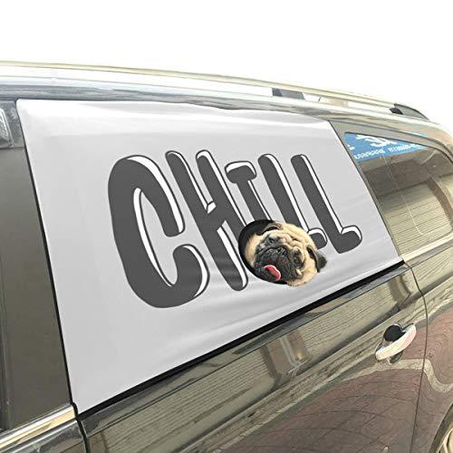 Yushg Chill Out Words Cool Down Faltbarer Hund Sicherheit Auto Gedruckt Fenster Zaun Vorhang Barrieren Protector Für Baby Kind Einstellbare Flexible Sonnenschutzabdeckung Universal Fit Für SUV