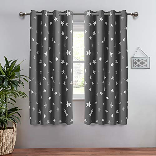 Lofus Boys Room Grommet Top Curtains 2 Panel with Foil Printed Star Pattern, Blackout Drapes Help Light Blocking, 38 x 45 Inch, Grey