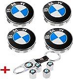 interestingcar 4er Set - Emblem für Radmittenabdeckungen, 68 mm BMW Logo Felgenabdeckung + 4er Set Reifenventilabdeckungen für alle Modelle BMW Felgen Blau & Weiß