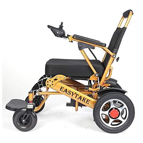 GJJSZ Silla de Ruedas eléctrica Plegable para Personas Mayores Silla de Ruedas discapacitada Silla de Ruedas eléctrica portátil ⭐