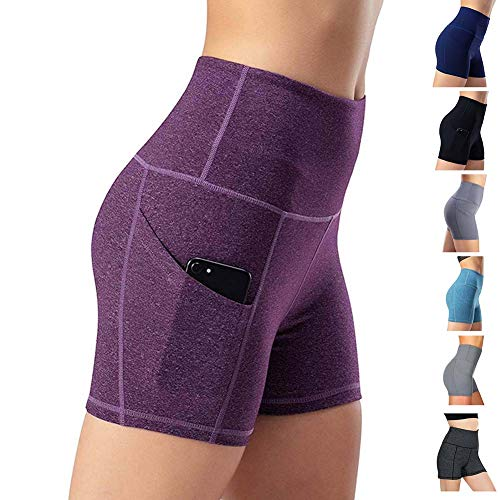 Leggings de yoga para mujer, talle alto, bolsillos para efecto faja, pantalones de entrenamiento, pantalones informales, Mujer, Pantaloni cropped, morado, large