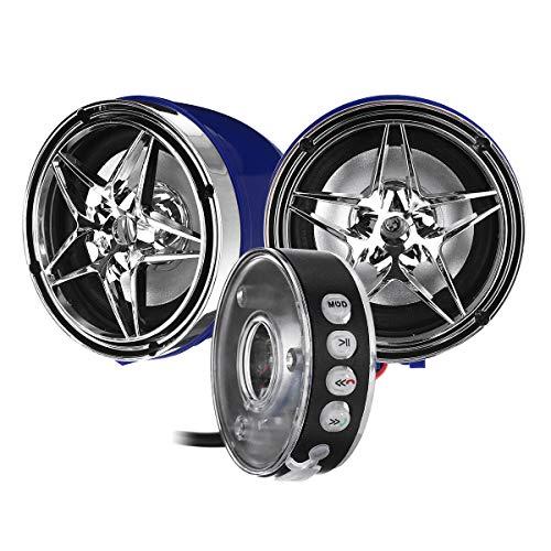 GNY Bocina eléctrica Altavoces Bluetooth MP3 Anti-Robo de 12V Impermeable con Control de Montaje de manija de Motocicleta LED (Color : Black)