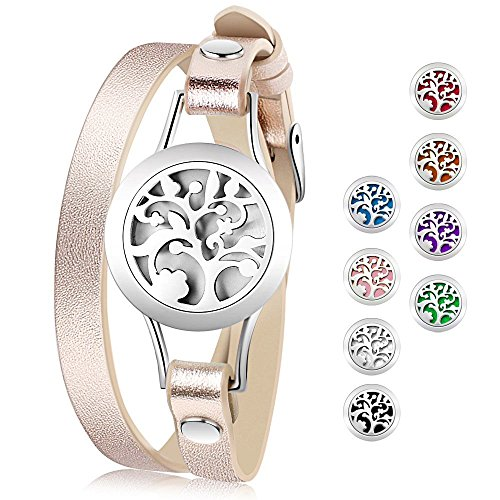 Essential Oil Diffuser Bracelet,Stainless Steel Aromatherapy Locket Bracelets Leather Band with 8 Color Pads,Girl Women Jewelry Gifts for Mom