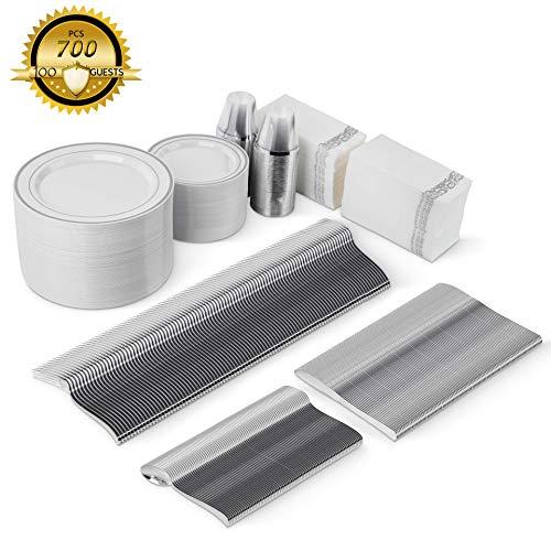 700 Piece Silver Dinnerware Set -100 Plastic Dinner Plates 100 Salad Plates 300 Silver Plastic Silverware 100 Silver Plastic Cups 100 Linen Feel Silver Paper Napkins | Plastic Dinnerware Set 100 Guest