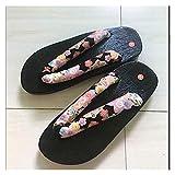 LPZW Zapatos Casuales de Madera de Madera de Madera Estilo japonés Chino Geta Bandera para Hombre Verano Cosplay Sandalias Zapatillas al Aire Libre (Color : Color10, Shoes Size : 37)