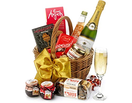 Cirencester Hamper With Champagne - Hand Wrapped Gourmet Food Basket, in Gift Hamper Box