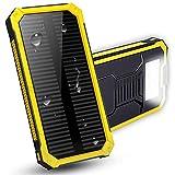 LPsweet Solar Power Bank, USB Double Batterie Externe, Batterie De Sauvegarde Externe Portable Étanche pour Iphone, Ipad, Mac, Samsung, Huawei Et Plus,Jaune,6000MAH