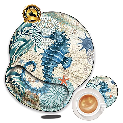 N&B Mouse Pad with Wrist Support Gel - Wrist Rest Mouse Pads for Wireless Mouse Kawaii Gaming Ergonomic Mouse Mat No-Slip Cute Ocean Hippocampus Mousepad for Laptop Gaming Matching A Coaster