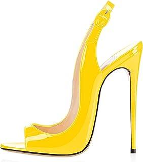 elashe - Scarpe da Donna - Peep Toe Slingback Sandali - Tacco a Spillo con Cinturino Caviglia Fibbia