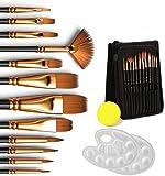 Dweyka - Set di 12 pennelli per pittura, con custodia di trasporto e 2 tavolozze, pennelli per pittura acrilica, acquerello, guazzo, pittura a olio (16 pezzi)