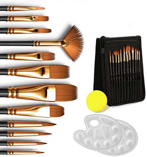 Dweyka Malerpinsel-Set, 12 Pinsel mit Transportetui Schwamm und 2 Paletten, Pinsel für Acrylfarben Gouache, Ölfarben (16 Stück)