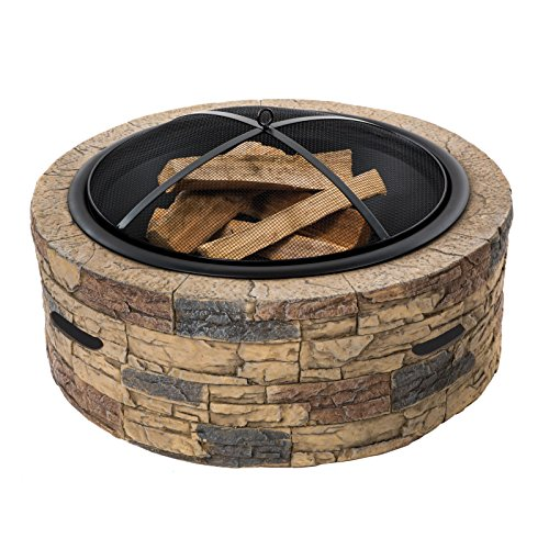 Find Bargain Sun Joe SJFP28-STN-CL Fire Joe 28 Classic Stone Fire Pit
