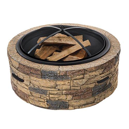 Sun Joe Stone Base, Cast Wood Fire Pit SJFP35-STN Dome Screen