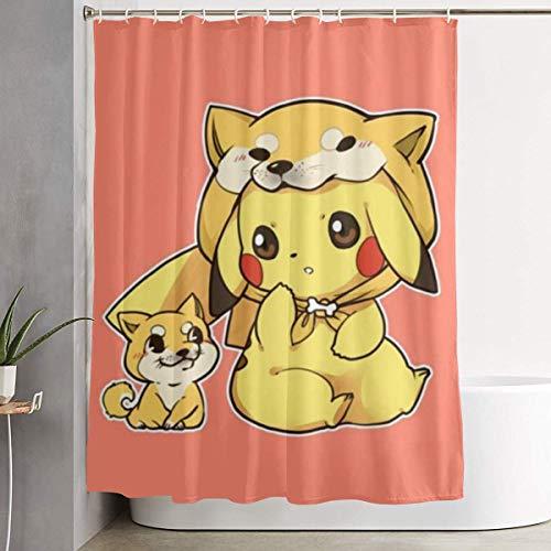 Duschvorhang Pikachu & Shiba Inu Kunstdruck, Badezimmer Dekorations Kollektion aus Polyestergewebe mit Haken 60X72 Zoll