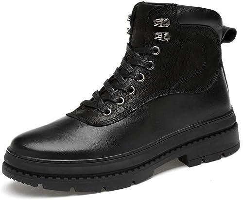 Botines para Hombre, Moda Casual, Costura de Cuero de Buey Antideslizante Suela Martin botas (Warm Velvet Opcional) (Color  negro, Tamaño  47 EU) (Color   negro, Tamaño   42 EU)