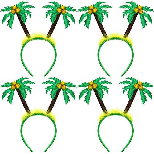 WILLBOND 4 Packs Hawaiian Party Head Boppers Palm Tree Boppers Summer Luau Headband Beach Coconut Tree Hair Accessory for Kids Adults Favors