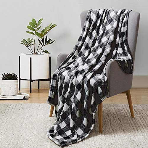 BEDELITE Fleece Blankets Black and White Buffalo Plaid Throw Blankets