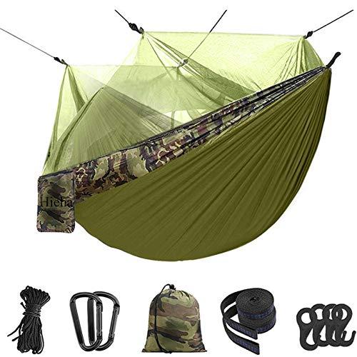 Hamaca Doble Camping 210T Nylon Parachute Hamaca Al Aire Libre Tienda Ligera Portátil Portátil Net para Senderismo Viajes De Mochilero