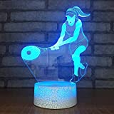 Voleibol dominante voleibol niña luz visual 3D lámpara de mesa pequeña creativa decoración creativa lámpara de mesa pequeña acrílico luz de noche multicolor luz LED