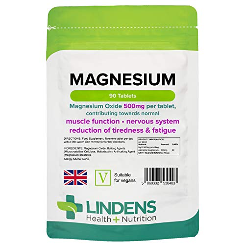 Lindens Magnesium Tablets - 90 Tablets - Contributes to Normal Energy Yielding Metabolism, Muscle Function, Nervous System, Bones, Teeth and Reduced Tiredness and Fatigue - UK Manufacturer