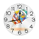 N/A Horloge Murale silencieuse Non Ticking 10 Pouces Quartz Rond décoratif, Ballon de Rugby avec Effets Arc-en-Ciel rempli rempli de Couleurs Signe de Sport Loisirs