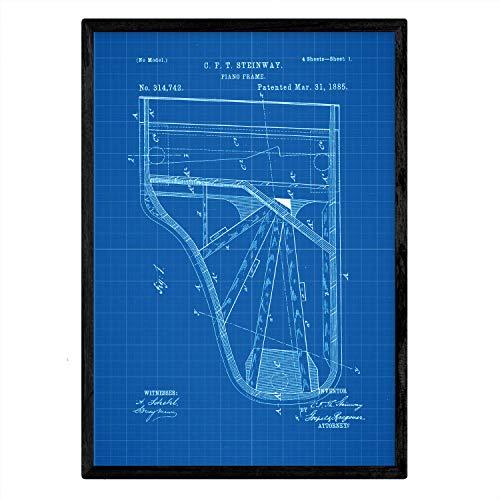 Poster Nacnic patent piano. Blad met oud ontwerp patent A3-formaat met blauwe achtergrond