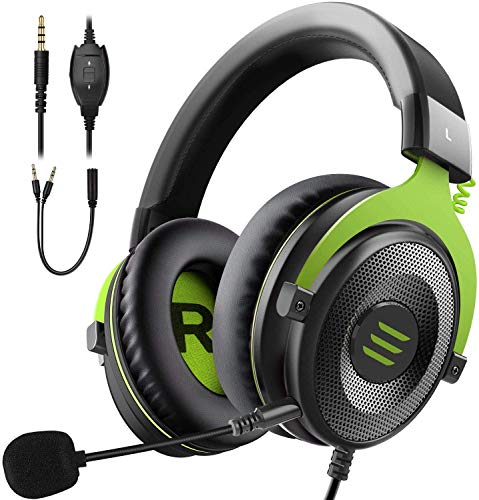 EKSA E900 Gaming Headset für Xbox One, PC PS4 PS5 Gaming Kopfhörer mit abnehmbarem Rauschunterdrückung Mikrofon für Laptop Mac Handy Tablet Grün