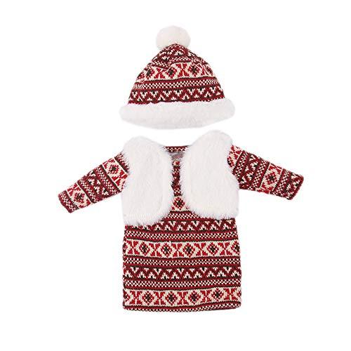 Uteruik 46 cm Puppenstrickkleid und Mütze, Kleidung, Winter, lässig, Kostüm-Zubehör, 2 Stück/Set (#B)