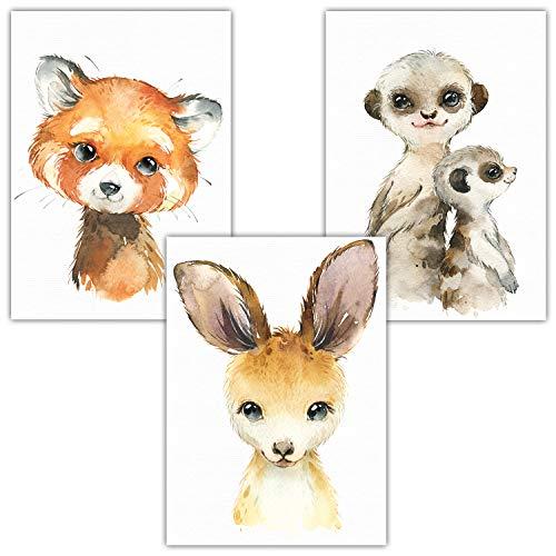 Frechdax® 3er Set Poster Kinderzimmer - A4 Bilder Babyzimmer - Waldtiere Safari Afrika Tiere Porträt Tierposter (3er Set Erdmännchen, Roter Panda, Känguru)