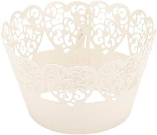 ifundom Lot de 50 emballages de gâteaux en papier creux en forme de cœur pour la maison, le magasin, le mariage (blanc tit...