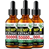 Envisha (3 Pack) Hemp Oil for Pain & Stress Relief - 50000mg of Organic Hemp Seed Extract - Rich in Vitamin & Omega - Natural Hemp Drops - Calm Sleep & Mood Support, Good for Skin