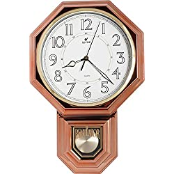 Justime Traditional Schoolhouse Pendulum Luminous Wall Clock Chimes Hourly with Westminster Melody Made in Taiwan, 4AA Batteries Included (PP0262-L Vintage Bronze)