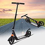 OppsDecor Adult Scooter with 3 Seconds Easy-Folding System 200mm Big Wheels Teens Commuter Scooter, 220lbs Adjustable City Scooter Age 8 Up (Black)