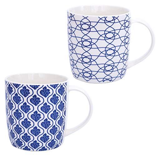 Boho Kaffeetasse 2-er Set - Große Kaffee-Becher 300-ml - orientalisches Design - hochwertige marokkanische Tee-Tassen mit feinem Druck - Spülmaschinenfeste Keramik - Geschenk Frauen Mutter (Design 5)