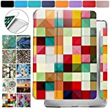 DuraSafe Cases for iPad Air 1st Gen 2013-9.7 Protective Durable Shock Proof Cover with Supportive Dual Angle Stand & Honeycomb Pattern Clear Back - Color Grid