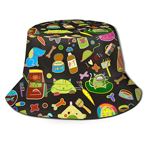 Hdadwy Fondo de Tienda de Mascotas para su diseño 1302 Sombrero de Pescador Sombreros de Pescador Gorra Plegable Reversible de Verano