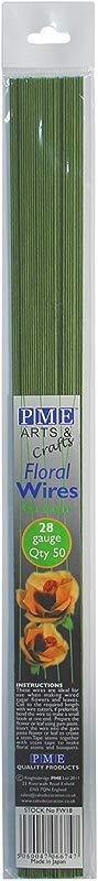 PME FW28 Flower Wires For Gumpaste Sugar Flowers Crafts Pack Of 50 Green 28 Gauge Standard
