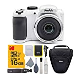 Kodak PIXPRO AZ252 Astro Zoom 16MP Digital Camera (White) with Kodak 16GB SD Card and Travel Bag Bundle (3 Items)
