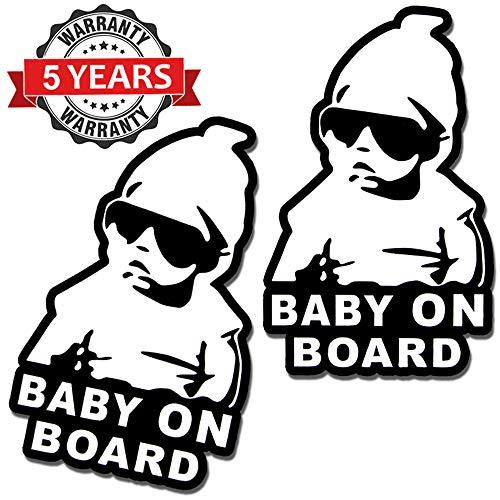 SkinoEu® 2 x Adesivi Vinile Stickers Autoadesivi Bimbo a Bordo Baby On Board Bambino per Auto Moto Finestrino Porta Tuning B 167