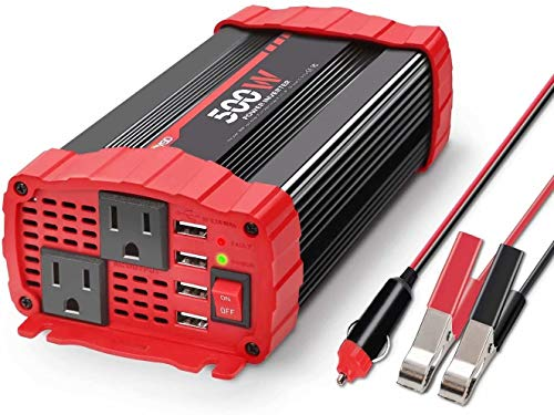 BYGD 500W Car Power Inverter DC 12V to 110V AC Converter Dual Outlets with 3.1A 4 USB Ports Car Charger Adapter