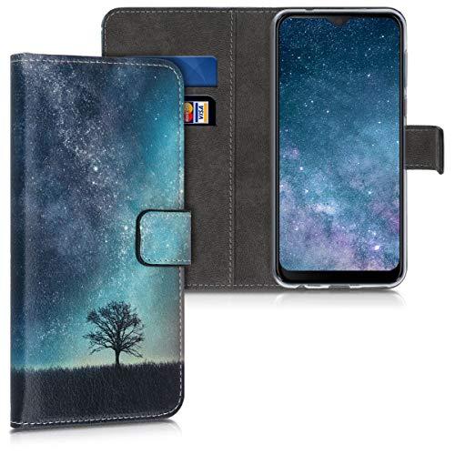 kwmobile Wallet Hülle kompatibel mit HTC Desire 19+ / 19s - Hülle Kunstleder mit Kartenfächern Stand Galaxie Baum Wiese Blau Grau Schwarz