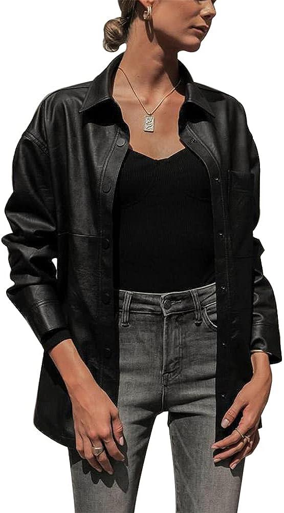 ZIWOCH Women's Faux Leather Jacket Casual Shirt Long Sleeve Motorcycle Outwear Coat
