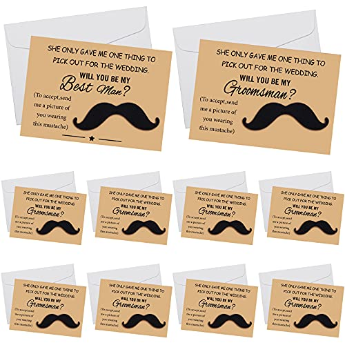 10 Sets Groomsmen Proposal Cards 5 x 7 Inch 1 Piece Best man Card and 9 Pieces Humorous Groomsman Cards with 10 Pieces Envelopes and 10 Pieces Funny Mustaches for Wedding Groomsmen Presents