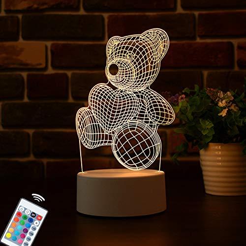 3D LED Teddybär Nachtlicht, Illusion Lampe, 3D visuelle kreative Nachtlicht, Vier Muster und 16 Farbwechsel Dekor Lampe - perfekte Geschenke für Kinder Jungen und Mädchen (Teddy Bear)