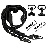 WUDPKE Traditional 2 Point Sling Quick Adjust,2 Pack Sling Swivels Mount with Quick Detach Push Button(Black)