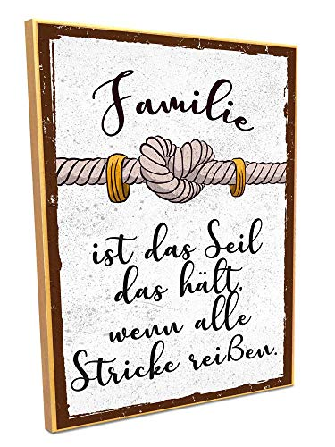 HARIZ Holzschild mit Spruch Familie Ist Das Seil Das Hält Wenn Alle Stricke Reißen Familie Sprüche Deko Inkl. Geschenk Karte 19 * 28cm